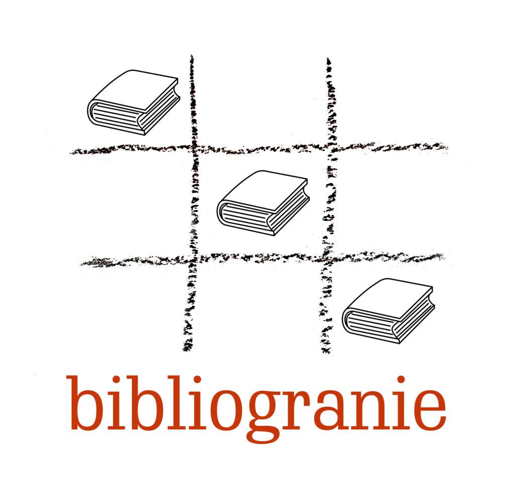 Bibliogranie. Nazwa projektu. Czarno-białe książki ułożone na planszy do gry w kółko i krzyżyk