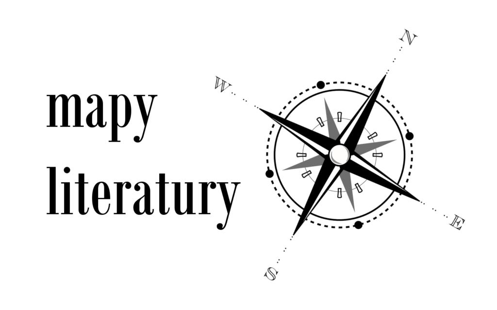 Mapy literatury, nazwa projektu. Obok grafika kompas u